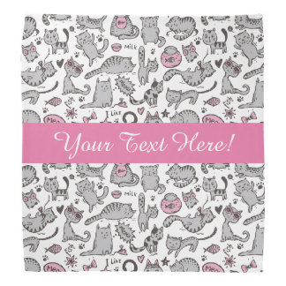Whimiscal Pink and Gray Cartoon Cat Gift Ideas Bandana