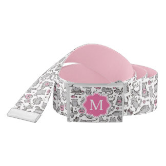 Whimiscal Pink and Gray Cartoon Cat Gift Ideas Belt