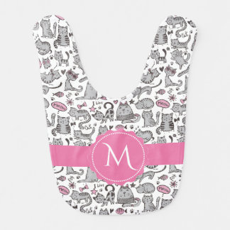Whimiscal Pink and Gray Cartoon Cat Gift Ideas Bib