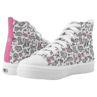 Whimiscal Pink and Gray Cartoon Cat Gift Ideas Printed Shoes