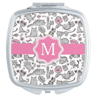 Whimiscal Pink and Gray Cartoon Cat Gift Ideas Travel Mirrors