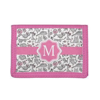 Whimiscal Pink and Gray Cartoon Cat Gift Ideas Trifold Wallet