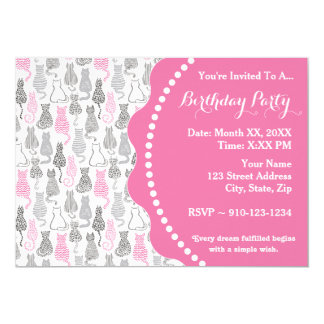 Whimiscal Pink and Gray Sketch Cat Gift Ideas Card