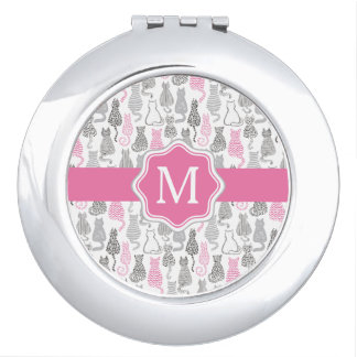 Whimiscal Pink and Gray Sketch Cat Gift Ideas Compact Mirror