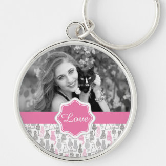 Whimiscal Pink and Gray Sketch Cat Gift Ideas Key Ring