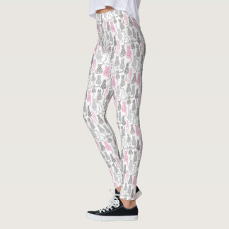 Whimiscal Pink and Gray Sketch Cat Gift Ideas Leggings