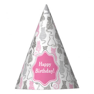 Whimiscal Pink and Gray Sketch Cat Gift Ideas Party Hat