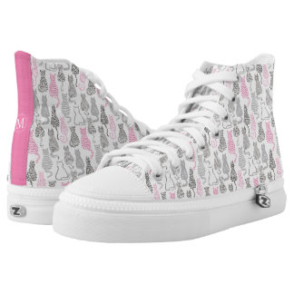 Whimiscal Pink and Gray Sketch Cat Gift Ideas Printed Shoes
