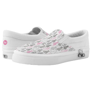 Whimiscal Pink and Gray Sketch Cat Gift Ideas Slip On Shoes