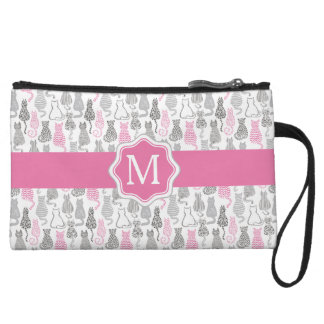 Whimiscal Pink and Gray Sketch Cat Gift Ideas Wristlet