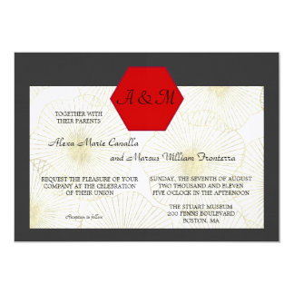 Whimscal Shells Monogram Wedding Invitation