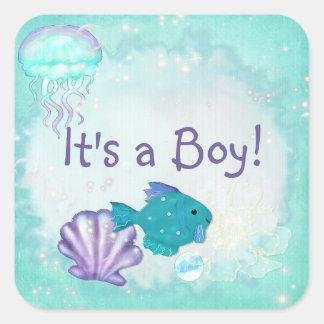 Whimsey Aquarium 2 Folk Art ITS A BOY GIRL Square Sticker