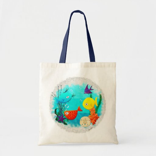 Whimsey Aquarium Cartoon Fish Childs to Teens Canvas Bag