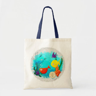 Whimsey Aquarium Cartoon Fish Childs to Teens Budget Tote Bag
