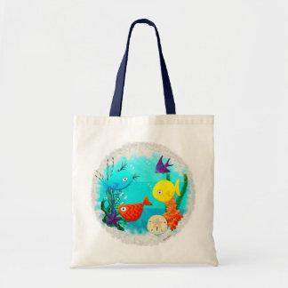 Whimsey Aquarium Cartoon Fish Childs to Teens Budget Tote Bag