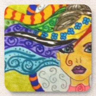 Whimsey Hair  Gal Drink Coaster