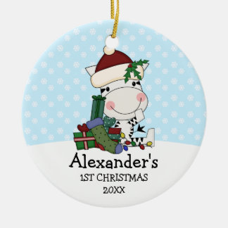 Whimsical 1st Christmas Santa Zebra Personalized Christmas Ornament