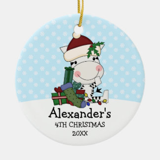 Whimsical 4th Christmas Santa Zebra Personalized Christmas Ornament