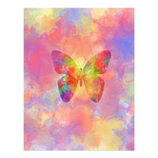 Whimsical Abstract Butterfly Rainbow Watercolor Flyer