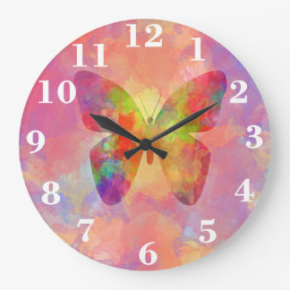 Whimsical Abstract Butterfly Rainbow Watercolor Large Clock