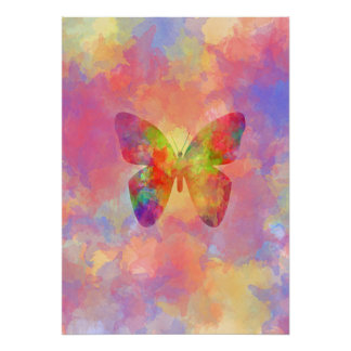 Whimsical Abstract Butterfly Rainbow Watercolor Posters