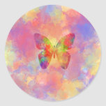 Whimsical Abstract Butterfly Rainbow Watercolor Round Sticker