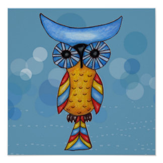 Whimsical Abstract Colorful Owl blue Circles Poster
