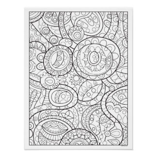 Whimsical Abstract Coloring Poster - Groovy Art