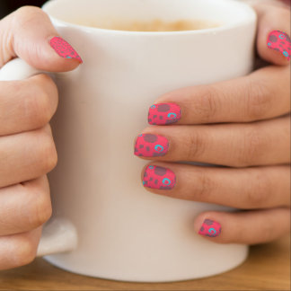 Whimsical abstract design in pink and grey minx nail art