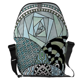 Whimsical Abstract Doodle Pattern Blue and Green Commuter Bags