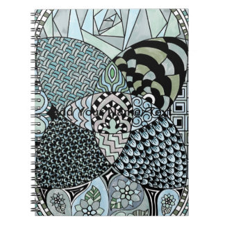 Whimsical Abstract Doodle Pattern Blue and Green Spiral Notebook