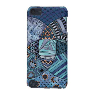 Whimsical Abstract Doodle Pattern Blue and  Purple iPod Touch (5th Generation) Case