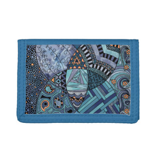 Whimsical Abstract Doodle Pattern Blue and  Purple Trifold Wallet