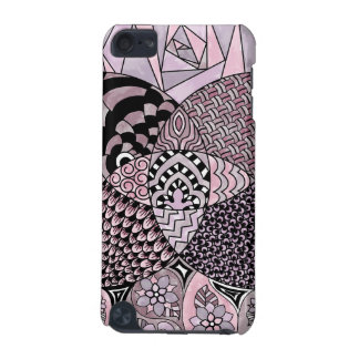 Whimsical Abstract Doodle Pattern Pink and  Purple iPod Touch (5th Generation) Cases