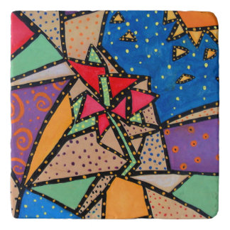 Whimsical Abstract Flower Trivets
