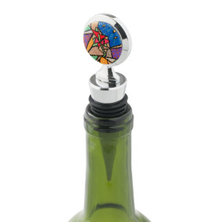 Whimsical Abstract  Flower Wine Stopper