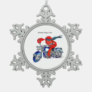 Whimsical Alaska King Crab Motorcycle Designed Snowflake Pewter Christmas Ornament