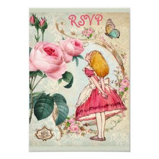 Whimsical Alice in Wonderland Collage RSVP 9 Cm X 13 Cm Invitation Card