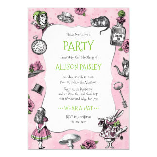 Whimsical Alice in Wonderland Pink and Green Card