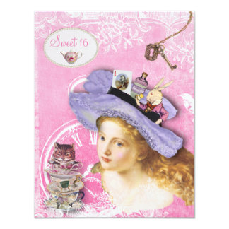 Whimsical Alice in Wonderland Sweet 16 Tea Party 11 Cm X 14 Cm Invitation Card