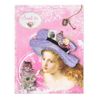 Whimsical Alice in Wonderland Sweet 16 Tea Party Custom Invite