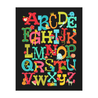 Whimsical Alphabet for Kids Stretched Canvas Art Canvas Print