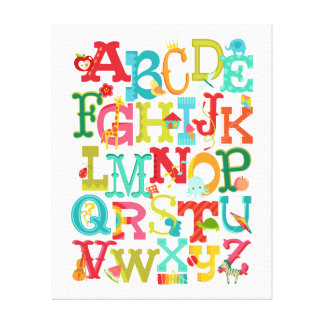 Whimsical Alphabet for Kids Stretched Canvas Art Gallery Wrapped Canvas