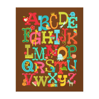 Whimsical Alphabet for Kids Stretched Canvas Art Stretched Canvas Prints