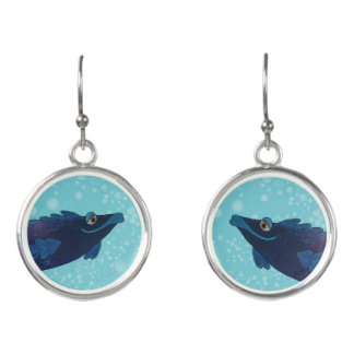 Whimsical and Adorable Fish Artwork in Rich Blues Earrings