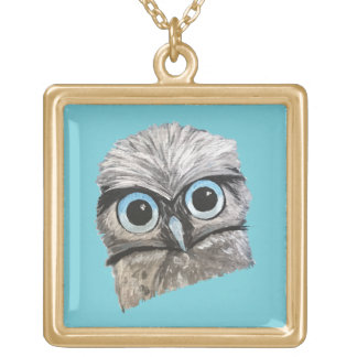 Whimsical and Adorable Owql Art Gold Plated Necklace