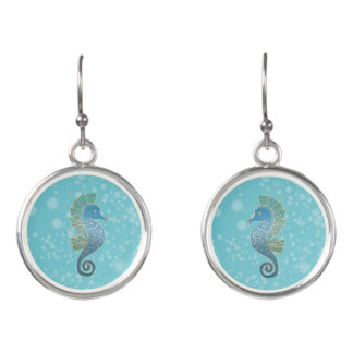 Whimsical and Adorable Seahorse Art in Rich Blues Earrings