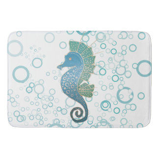 Whimsical and Adorable Seahorse Artwork Bath Mat