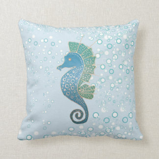 Whimsical and Adorable Seahorse Artwork Cushion