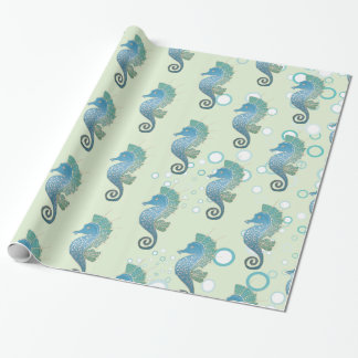 Whimsical and Adorable Seahorse Artwork Wrapping Paper
